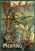 """Vintage Illustrated Travel Poster CANVAS PRINT Merano italy 8""""X 12"""""""