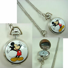 Mickey Mouse Women Ladies Girl Men Boy Fashion Pocket Watch Necklace + CHARM