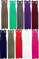 Ladies Women Maxi Jersey Toga Racer Back Long Vest Maxi Dress Skirt 8-10 12-14