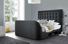 "Titan Black Leather Multi Media King Size TV Bed Frame Holds A 43""TV"