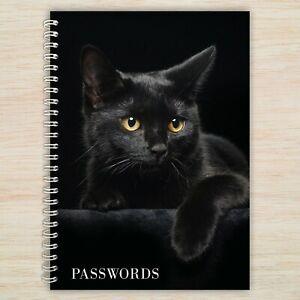 Black Cat Password Book - A6 Alphabetical Organised Notebook plus more designs!