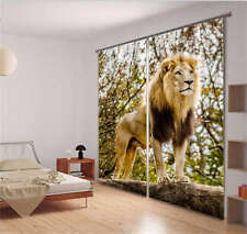 Tough Tender Lion King 3D Blockout Photo Mural Printing Curtains Draps Fabric