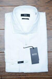 Hugo Boss Men's Jan Slim Fit Soft Line White Canclini Cotton Casual Shirt 41 16