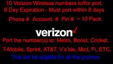 10x Verizon Phone Numbers To For Port - Phone Number - Account #, Pin #