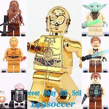 7pcs set Star Wars Custom Lego Minifigures Chrome Gold C-3PO & Yoda Han Solo