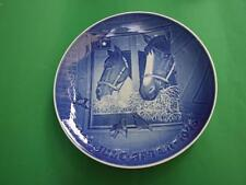 Vintage Copenhagen Porcelain Blue Wall Plate  Horse  9''  JULE-AFTER 1975