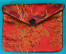 "Asian JEWELRY BAG, necklace, bracelet, etc, 5"" x 6"", lined, zipper & snap flap"