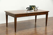 Library Table Writing Desk, Vintage Walnut, Tooled Leather Top