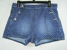 . Arizona Jeans Size 14 Women's Blue Polka Dot Salor Front Shorts 4 Pockets