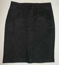 TALBOTS Charcoal Gray Shimmer Below Knee DENIM-ish STRAIGHT Skirt Sz 6P-