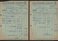 HANNOVER, 2 x Rechnung 1956, Gebrüder Faulhaber Auslieferungslager Fichtel & Sac