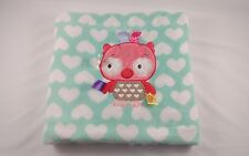 "Taggies Pink Green Owl Fleece Blanket White Hearts 30 x 40"" Baby Security"