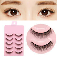 5 Pairs Natural Short Cross False Eyelashes Handmade Makeup Fake Eye Lashes Hot