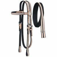 Tough-1 Nylon Headstall with Leather Overlay and Silver Dots w/ Reins Horse Tack