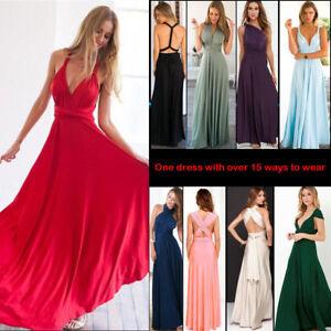 Women Convertible Multi-Way Wrap Evening Long Maxi Dresses Prom Bridesmaid Dress