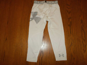 UNDER ARMOUR HEAT GEAR 3/4 LENGTH WHITE FITTED PANTS LEGGINGS BOYS MEDIUM EXC.