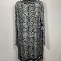 NWT Michael Kors Womans Long Sleeve Shift Dress Size Large Animal Print Black