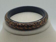 Vintage Russian Painted Black & Gold Leaf Pattern Lacquered Wood Bangle Bracelet
