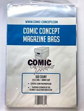 More details for comic concept magazine bags pack of 100 bags (235 x 305mm + 38mm flap) bnib
