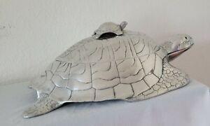 "RARE vintage Arthur Court ""turtle"" tureen with carnelian glass eyes 17.5"" x 11"""