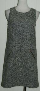 Ann Taylor Loft Wool Blend Gray Scoop Neck Sleeveless Exposed Zip Shift Dress 2