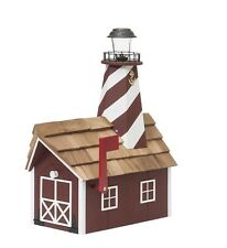 Lighthouse Mailbox w/6-Sided Lighthouse, Solar Light & Cedar Roof made by Amish