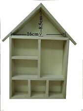 WOODEN HOUSE SHAPED SHELVING DOLLS DECORATE SHADOW BOX ART CRAFT 7 COMPARTMENTS