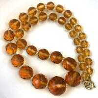 AMBER GLASS BEAD NECKLACE FACETED VINTAGE BEADS