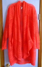 CORAL CHEVRON LACE OPEN CARDIGAN - XL