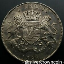 SCC Congo Belgian Free State 5 Francs !! 1896/4 !! RARE Silver Crown Dollar coin