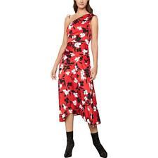 BCBG Max Azria Womens One Shoulder Floral Daytime Midi Dress BHFO 2845