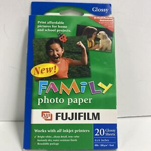 Lot of 3 Fujifilm Family Photo Paper 20 Inkjet Printer Fuji Glossy Sheets 4X6