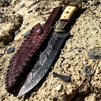 "NEW Hand Made 10.5"" Damascus Steel RIDGE Deer Bone Handle Hunting Knife & Sheath"