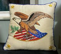 Vintage Avon Crewel Embroidered Pillow American Eagle Patriotic