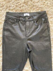 BNWT Wet Look Sparkle Glitter Black Jeans Skinny Trousers Size 12 High Waist