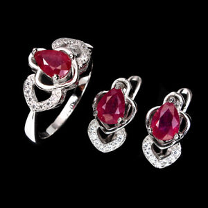 Pear Red Ruby 7x5mm Cz 14K White Gold Plate 925 Sterling Silver Sets