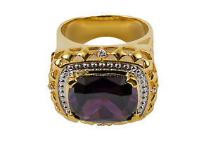New Mens CLERGY BISHOP RING, (SUBS166 G-Purple), 14k Gold Plated, Christian