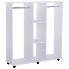 Mobile Open Wardrobe W/6 Wheels-White