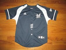 Milwaukee Brewers Adidas Boys Size M 10-12 Youth Navy Baseball Jersey