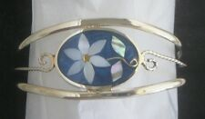 Bracelet Cuff Daisy Mother of Pearl Abalone Shell bendable MOP oval flower blue