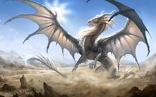 Framed Print - Giant White Dragon (Picture Poster Mythology Fantasy Mythical)