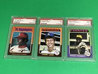 🔥 1975 Topps Baseball Card PSA 7 NM HOF CARD X3 LOT 🔥 LOU BROCK 🔥 TOMMY JOHN