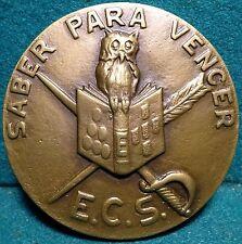 OWL BOOK SWORD FEATHER / COMMANDANT PINHO E FREITAS 83mm BRONZE MEDAL