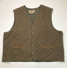 Woolrich Mens Quilt Lined Insulated Button Vest Size XXL Dark Wheat Sleeveless
