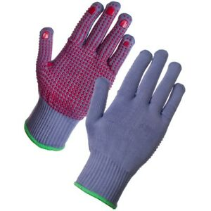1 or 12 Pairs Supertouch Supergrey Work Gloves with PVC Safety Dot Grip