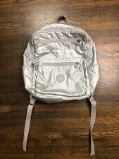 Kipling Backpack Silver Metallic Rare Vintage Zip Pockets Schoolbag Travel Rare