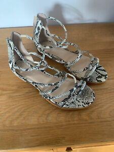 Carvela Flat Strappy Sandals. Snake Print. UK5. Excellent Condition.
