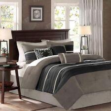 Comforter Set 7 Piece King Size Black Gray Bedspread Designer Duvet Blanket
