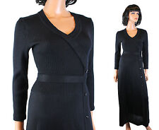Vintage Sweater Dress M Aristo Kat Long Sleeve Black Wool Blend Stretchy V Neck