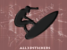 3D Sticker Decal Resin Domed Surfer Surf Adhesive Decal  Black
